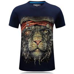Wholesale Leopard Print Tshirts - 2018 Summer New 3D print T shirts men Cotton Short Mens Tshirts Animal Leopard Pattern Men's T-shirts 4XL 5XL 6XL