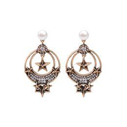 Wholesale pearl drop earrings white gold - Wholesale 2018 new anti gold color plating big circle stars imitation pearl rhinestone women dangle earrings fashion jewelry drop earring cc