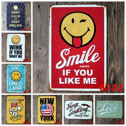 Wholesale Feng Shui Goods - Smile Face Emoji Tin Poster Happiness Is Good For You Iron Paintings Keep Calm And Smiling 20*30cm Tin Signs Lovely 3 99ljH B