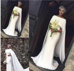 Wholesale kaftan bridal dresses - Latest Satin Mermaid Wedding Dresses for Black Girl With Cape Zipper Back Arabic Bridal Dress Wedding Gowns African Kaftan