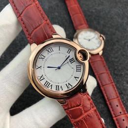 Wholesale ballon black - Hot Sell AAA Famous Luxury Brand Watches Women Men Bleu de Watch Roman Numerals Dial Leather Strap Ballon Quartz Wristwatches 3 Colors