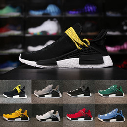 Wholesale Core Classic - 2018 Classic Yellow Human Race Pharrell Williams Hu trail NERD Men Womens Running Shoes white noble ink core Black Red sports Shoes sneaker
