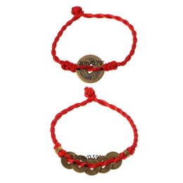 2019 chinesisches rotes armband Chinese Feng Shui Wealth Glück Kupfer Münzen Anhänger Red String Armbänder günstig chinesisches rotes armband