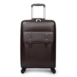 2019 case pouces 16 16,20,24 pouces, roue Spinner, boîte rétro PU, poids léger, sac de choc valise de voyage, valise trolley, bagages à roulettes 4 roues affaires