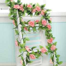 Rosen gärten online-240cm Atmosphärische Luxushochzeits-Dekorationen Silk Rosen-künstliche Blumen-Rebe-Hausgarten-Dekoration Rattan-Blumenwand-Blumen