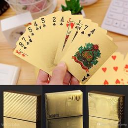 2019 spielkartenabdeckung Stilvolle wasserdichte 24K Goldfolie plattierte Abdeckungs-Spielkarten-Tischspiel des Poker-54 rabatt spielkartenabdeckung