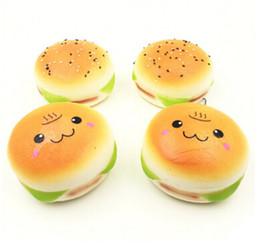 Wholesale Hamburger Man - 10cm Cute Jumbo Soft Squishy Smile Hamburger Charms Slow Rising Kawii Kids Toy Emoji Phone Straps For Cell Phone Decoration