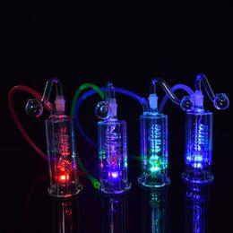 "2019 verschiedene typen rauchen pfeifen Recycler Glas Bong LED Light Ölplattform Wasserpfeifen Bongs Spiral Perc 4,5 Zoll Dab Rig 10mm Joint Shisha Mini Bongs mit Banger und 20 ""Schlauch"