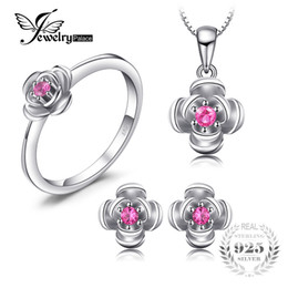 Argentina JewelryPalace Promise Love Rose In B Round creó Red Ruby Pendant Stud Stud Pendientes 925 Joyas de plata Conjuntos de regalo supplier round ruby ring Suministro