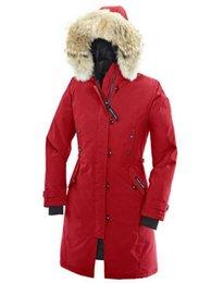 Wholesale Womens Long Goose Down Coats - Brand Fashion Womens Kensington Parka Coat Liuigno Whistler Slim Fit Outdoor Windproof Raccoon Fur Collar Goose Down Jacket DHLfreeshipping