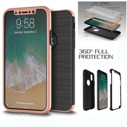Wholesale Note Screen Protection - 3 in 1 Full Protection Case Brush Cell Phone Cases Cover With Screen For iPhone X 8 7 6 6S Plus 5 5S Samsung Note 8 S8 S7 Edge Plus J7