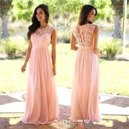vestidos de boda rosa oscuro Rebajas Blush rosa / Mint / Dark Navy vestido de dama de honor de encaje 2018 Sheer Neck tapa de encaje con cremallera Back Maid of Honor Wedding Guest Dresses Personalizar