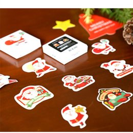Wholesale Free Scrapbooking Supplies - free shipping 46 48Pcs Winter Merry Christmas Sticker Xmas Gift Box Decoration Wedding Party Supplies DIY Scrapbooking Seal Label AQI-729