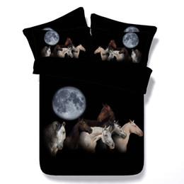 Bettdecke bettdecke online-3D Mond Pferd Bettwäsche-Sets Bettbezug schwarz Tagesdecken Tier Bettdecke Bettwäsche Quilt Covers Silber Bettdecke für Erwachsene