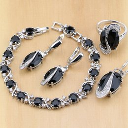 Wholesale Jade Necklace Black White - whole sale925 Sterling Silver Jewelry Black Cubic Zirconia White CZ Jewelry Sets For Women Earrings Pendant Necklace Rings Bracelet