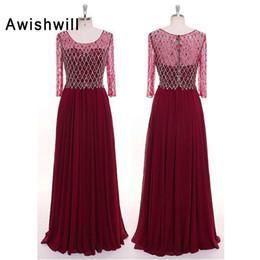 Fotos reais Até O Chão Beadings Mulheres Chiffon Formal Evening Party Dress Elegante Borgonha Mãe dos Vestidos de Noiva de