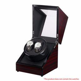 14ba0fe6bd8 caixa de relógio de madeira laca de piano Glossy Black Carbon Fiber Duplo  Watch Winder Box Calmo Display Case Armazenamento Motor para Relógios