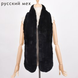 Wholesale Knitted Rabbit Fur Shawls - Real Knit Rex Rabbit Fur Scarf Women Winter Warm Natural pure fur shawl long 155cm Scarf