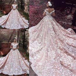 Wholesale Cathedral Dresses - Elie Saab Off Shoulder Blush Church Train Wedding Dresses 3D Floral Handmade Flower Dubai Arabic Bridal Wedding Gowns High Quality