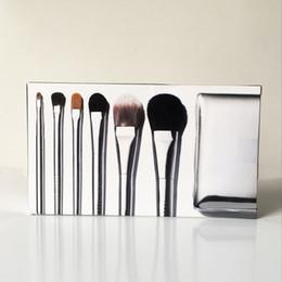 Sombra de ojos plateada online-BB-Seires Silver Travel Brush Set 6pcs (delineador de ojos / sombras / Corrector de barrido Blend Foundation Blush) - Brochas de belleza de alta calidad Tool Pinceles