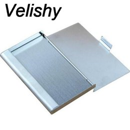Wholesale Aluminium Card Case Wallet - Velishy 2017 New Fashion Stainless Steel Silver Color Aluminium Business ID Credit Card Holder Cover Case drop shipping