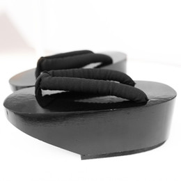 Wholesale geta sandals - Summer Flip Flops Woman sandals Japanese Geta candlenut clogs shoes Flat Heel Cosplay costume wooden slippers
