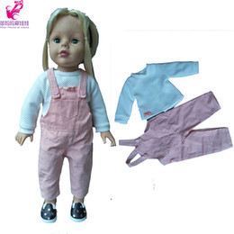 Wholesale Wholesale 18 Inch Doll Accessories - Fashion Jeans Pants white Long Sleeve Shirt Set for 18 Inch 45 CM American Girl doll Clothes