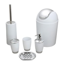 Wholesale Bathroom Bins - 6PCS Bathroom Accessory Set Washing Tools Bottle Mouthwash Cup Soap Toothbrush Holder Waste Bin Toilet Brush Household Articles