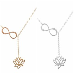 Wholesale Gold Lotus Necklace - New Lotus Infinity Necklace Silver Gold Flower Lotus Pendant Chains Fashion Jewelry Women Kids Necklace Gifts Drop Shipping
