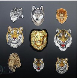 Wholesale Quilt Coat - 1Pcs Leopard Tiger lion wolf Embroidery Iron on Patches for Clothing Applique DIY Hat Coat Dress Accessories Cloth Sticker Anima