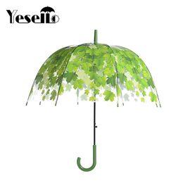 Wholesale Clear Mushroom Umbrellas - Yesello Transparent Thicken PVC Mushroom Green Leaves Rain Clear Leaf Bubble Umbrella