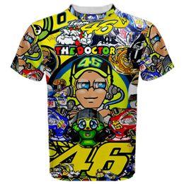 Xxl capacetes de bicicleta on-line-Capacete MOTOGP Impresso T-Shirt O Doutor Corrida Rápida Seca Jersey Moto Equitação Ocasional T shirt