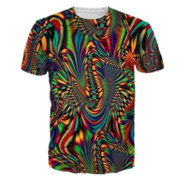 Wholesale T Shirt Women Colorful - Sondirane Summer Men Women 3D T Shirts Print Trippy Psychedelic Whirlpool Colorful Graphic T Shirt Hip Hop Tops Casual Clothing