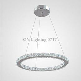 110-230V D30 D40 D50 D60 D70cm Lámparas LED Luces colgantes de cristal Lámparas de decoración Iluminación de escalera Anillo Led lamparas colgantes arañas artículo desde fabricantes