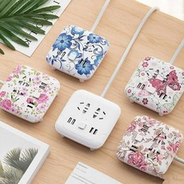 Wholesale hot line phone - New Hot Climbing wall usb socket creative desktop smart plug multi-function line card mobile phone charging wiring board safety 5 styles