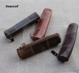 Wholesale Leather Tools Handmade - Leacool Vintage Crazy Horse Leather Handmade Leather Men Women Children Long Zipper Pen Pencil Bag Bags Holder Holders Tool Case