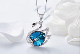 Collar de plata de ley swarovski online-Prebeauty de gama alta súper lindo s925 collar de cisne de plata de ley colgante, collar de Swarovski elemento joyería de cristal mujeres regalo de cumpleaños