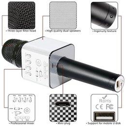 2019 altavoz del micrófono bluetooth q9 q7 2018 Magic Q9 Bluetooth Micrófono inalámbrico Micrófono de mano KTV con altavoz Micrófono Karaoke Q7 actualización para el teléfono Android rebajas altavoz del micrófono bluetooth q9 q7