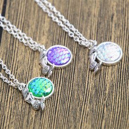 Wholesale u link - 12pcs lot Holographic mermaid necklace mermaid fish scale necklace shimmery mermaid jewelry gift u pick color