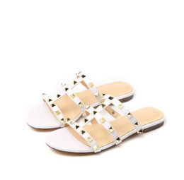 Wholesale Cute Summer Heels - Women Flats slippers Top quality Fashion Genuine Leather Luxury Metal rivets summer Sexy current classic Noble cute Simple Slippers