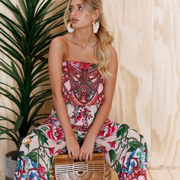 Wholesale Tube Jumpsuits - Women's Summer Sexy Strapless Printed Tube Outfits Romper Jumpsuit Wide Leg Siamese Pants 2018