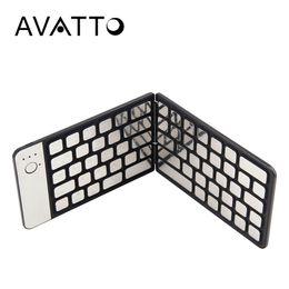 Wholesale ipad keypads - [AVATTO] Aluminum Pocket Bluetooth Folding Mini Keyboard Foldable BT Wireless Touchpad Keypad For IOS Android Windows ipad phone