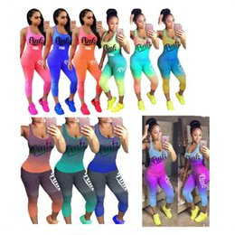 Wholesale fashion tank tops wholesale - Love Pink Letter Gradient Outfit Scoop Neck Sleeveless Tank Top Vest Tights Pants Leggings Summer Women Tracksuit Sportswear Gym Camis Suit