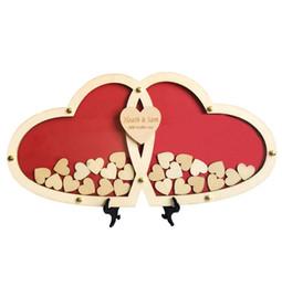 Mariage de coeur Personnalisé Coeur de mariage Alternative Livre d'or en bois Livre personnalisé Drop Top Box 45 * 23 cm avec 70pcs 3 cm ? partir de fabricateur