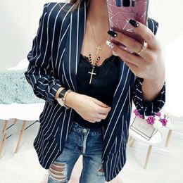 LDZHPS 2018 moda negro blanco a rayas chaquetas casual verano señoras  adelgazan ropa de abrigo señoras abrigos de oficina e00a82db7c5d