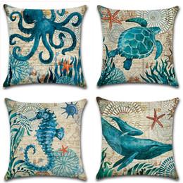 Cuscino in lino di cotone stampato tartaruga marina Caso marino in tartaruga per tartarughe marine da