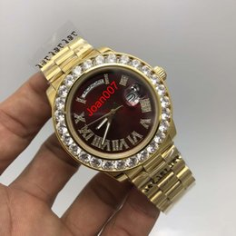 Wholesale Good Mens Watches - Super Quality Hot Sale Luxury Super Good President Date Watch Big Diamond Bezel Red Dial Mens Hip Hop Rappers Watches Factory Best Sell 43mm