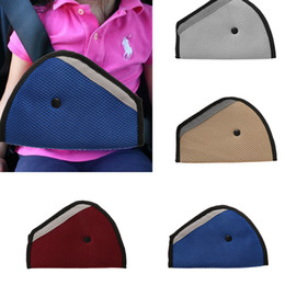 Wholesale Triangles Safety Wholesale - 1Pc New Triangle Baby Car Safety Seat Belts Adjuster Clip Accessories Child Protector Red Blue Grey Color