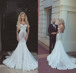 Wholesale Lace Dresses Online - Vintage White Mermaid Wedding Dresses Lace 2017 Off Shoulder Sweetheart Lace-up Chapel Train Wedding Gowns Bridal Dress Brautkleider Online
