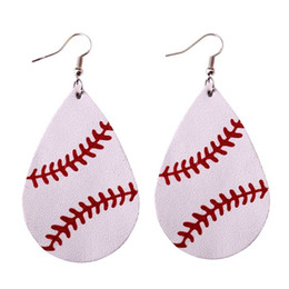 Wholesale New Trendy Earrings - 2018 New Trendy Softball Baseball Soccer Golf Genuine Leather Teardrop Round Leaf Statement Earrings Round Disc Leather Drop Earrings